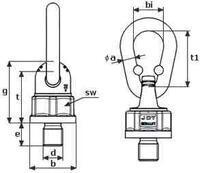 Šroubovací bod Theipa point TP0,7, M14x20mm, nosnost 2000/1000 kg, třída 10 - 2/3