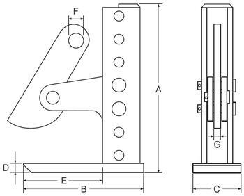 Horizontální svěrka CHVX 6 t, 3-420 mm - 2