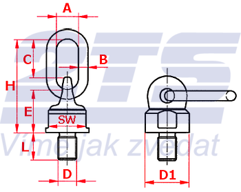 Šroubovací otočný a sklopný bod ASWH M90x135, nosnost 35 000 kg - 2