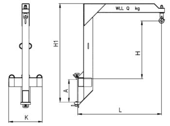 Závěsné rameno na desku VZV zvýšené jednoduché ZR1HD 3000kg - 2