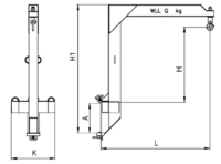 Závěsné rameno na desku VZV zvýšené jednoduché ZR1HD 3000kg - 2/2