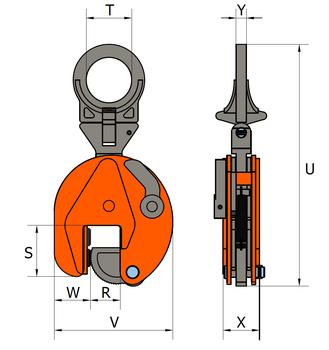 Vertikální svěrka VHPUW 3 t, 0-35 mm - 2