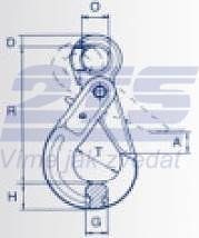 Vyklápěcí bezpečnostní hák s okem BKO průměr 6 mm, třída 8 - 2