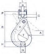 Vyklápěcí bezpečnostní hák s vidlicí BKG průměr 10, třída 10 (CSCX10) - 2