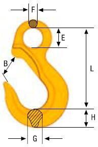 Závěsný hák bez pojistky EK průměr 7/8 mm, třída 10 - 2
