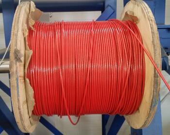 Ocelové lano průměr 3/4 mm, 6x7 FC B 1960 sZ + PVC červené - 2