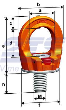 Šroubovací otočný  bod PLGW M36x55, nosnost 7 t - 2
