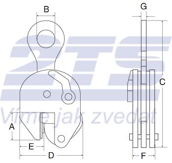 Vertikální svěrka CS 12 t, 0-52 mm - 2