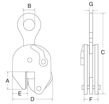 Vertikální svěrka CSE 1 t, 0-25 mm - 2