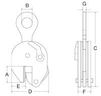 Vertikální svěrka CSE 1 t, 0-25 mm - 2/3