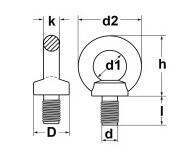 Šroub s okem DIN 580 M16x27mm, ocel C15E, galvanicky pozinkovaný - 2