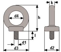 Šroub s okem DIN 580 M16-pozinkovaný-C15E,nosnost 700kg - 2/4