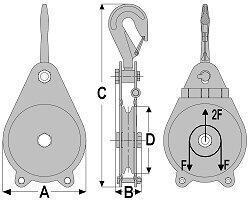 Kladka montážní s hákem 6400 daN, pr.lana 14mm - 2