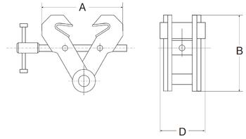 Šroubovací závěsná svěrka CSVW 1t, 75-190mm - 2