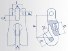 Zkracovací hák s vidlicí a pojistkou VKP průměr 16 mm, třída 8 - 2