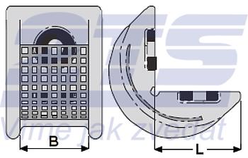 Rohová pevná ochrana SWH pro textilní úvazky 75mm, oboustranné magnety - 2