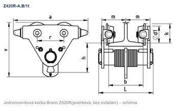 Jednonosníková kočka postrková Z420R-A, nosnost 1 t - 2