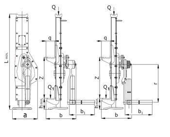 Hřebenový zvedák s pevnou opěrou 15-00, nosnost 2,5 t, ráčnoklikopáka - 2