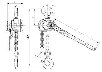 Pákový kladkostroj s článkovým řetězem RZC 1,6 t, délka zdvihu 1,5 m - 2