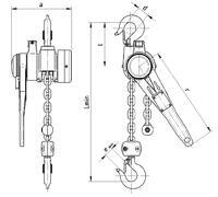 Pákový kladkostroj s článkovým řetězem Z310 5 t, délka zdvihu 1,5 m - 2/3