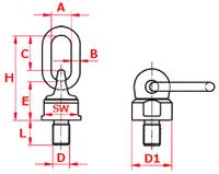Šroubovací otočný a sklopný bod ASWH M14x100, nosnost 500 kg, tř.8 - 2/4