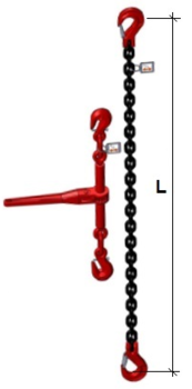 Stahovací řetězová sestava typ č.2 průměr 10 mm, délka 5m, třída 8 GAPA - 2
