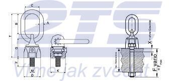 Šroubovací otočný a sklopný bod RUD VWBG-V M16 max.F=80 mm,matice+podložka - 2