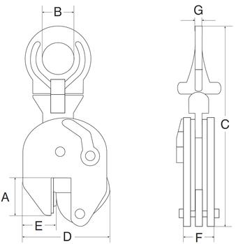 Vertikální svěrka CUER 2 t, 0-35 mm, Nerez - 2