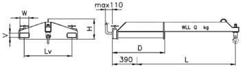 Závěsné rameno na vidlice VZV jednoduché ZR1V 2500kg - 2