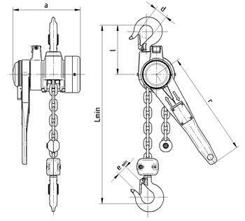 Pákový kladkostroj s článkovým řetězem Z310 1 t, délka zdvihu 1,5 m - 2