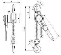Pákový kladkostroj s článkovým řetězem Z310 1 t, délka zdvihu 1,5 m - 2/3
