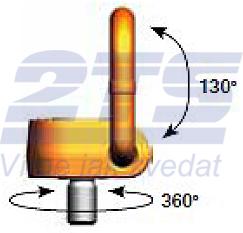Šroubovací otočný a sklopný bod PLAW M20x33, nosnost 2,5 t, max.délka - 2