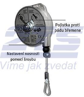 Balancér 9338 (Tecna), nosnost: 6-8 kg, 2500 mm - 2