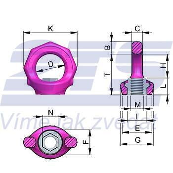 Šroubovací bod s matkou RUD VRM M24, nosnost: 3,2t (8t) - 2