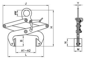 Svěrací kleště na bloky SKB 500kg, svěrná šíře 260mm - 2