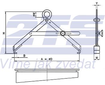 Nosič sudů vertikální s pojistkou NSVG, nosnost 300kg, pr.600mm - 2