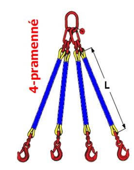 4-hák textilní RS, nosnost RS 1t, délka 5,5m - 2
