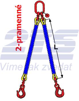 2-hák textilní RS, nosnost  RS 4t, délka 2,5m - 2