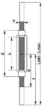 Lanový napínák DIN 1480 navařovací černý, M14 - 2