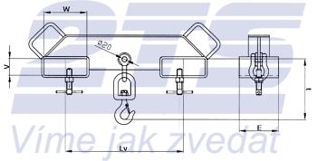 Závěs na vidlice VZV dvojitý s otočným hákem ZV2 OH 3000kg - 3