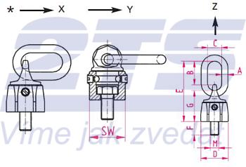 Šroubovací otočný a sklopný bod RUD VWBG M36x4,0, nosnost 8t - 3