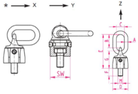 Šroubovací otočný a sklopný bod RUD VWBG M36x4,0, nosnost 8t - 3/4
