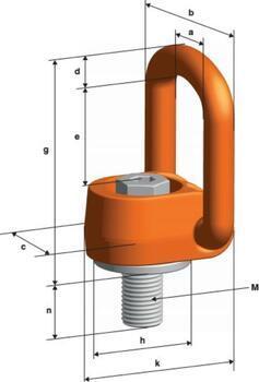 Šroubovací otočný a sklopný bod PLAW M42x65, nosnost 10 t, max.délka 365 mm, tř.10 - 3