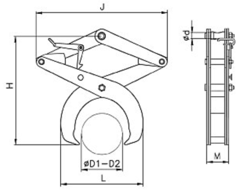 Svěrací kleště na kruhové profily SKR 1000kg, 500mm - 3