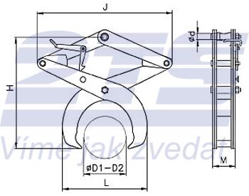 Svěrací kleště na kruhové profily SKR 2500kg, 800mm - 3