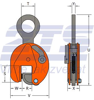 Vertikální svěrka SVCW 7,5 t, 50-100 mm - 3