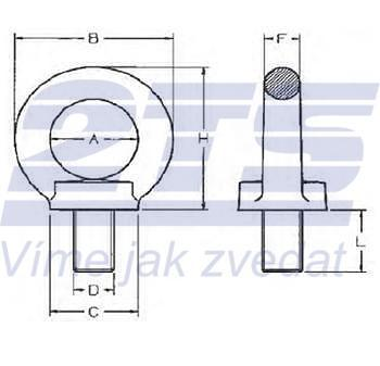 Šroubovací bod RSH M12x21, nosnost 1600 kg, tř.8 - 3