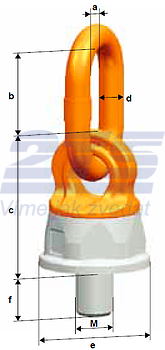 Šroubovací otočný a sklopný bod PLDW M14x22, nosnost 1 t - 3