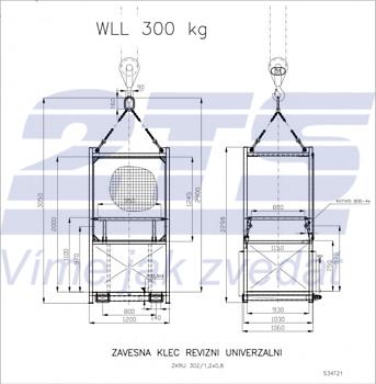 Závěsná revizní klec ZKR1 301/0,9m nosnost 300kg - 3