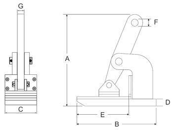 Horizontální svěrka CNMH 6 t, 0-50 mm  (pár) - 3